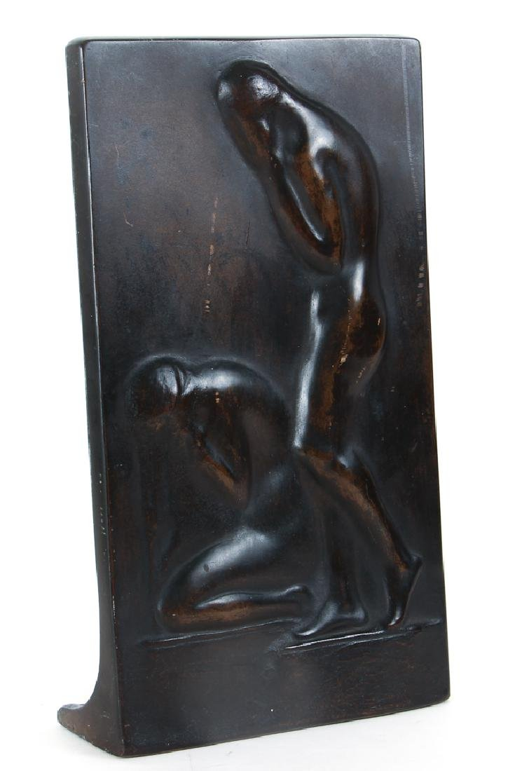 Modernist Bronze Plaque of Two Mourners