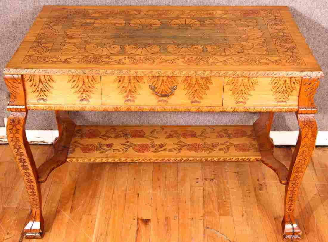 Elaborate Pyrography One Drawer Library Table