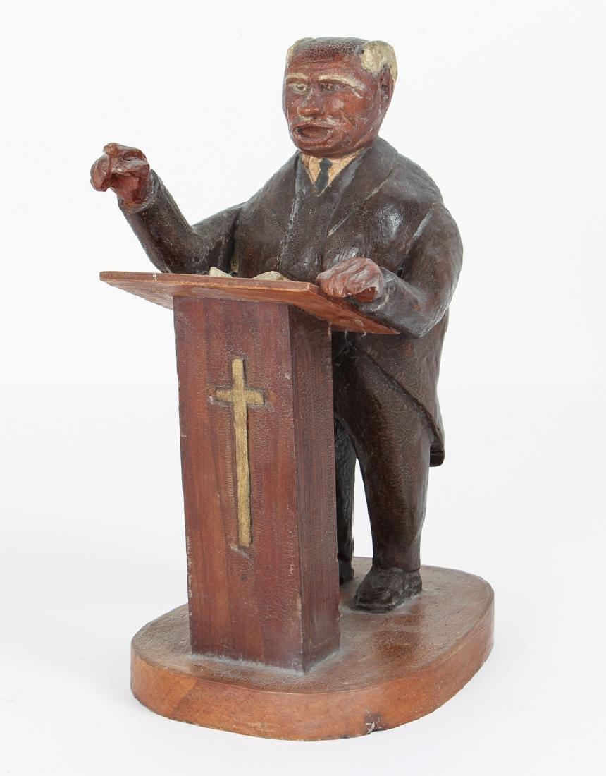 Folk Art Preacher Carved Wood Sculpture