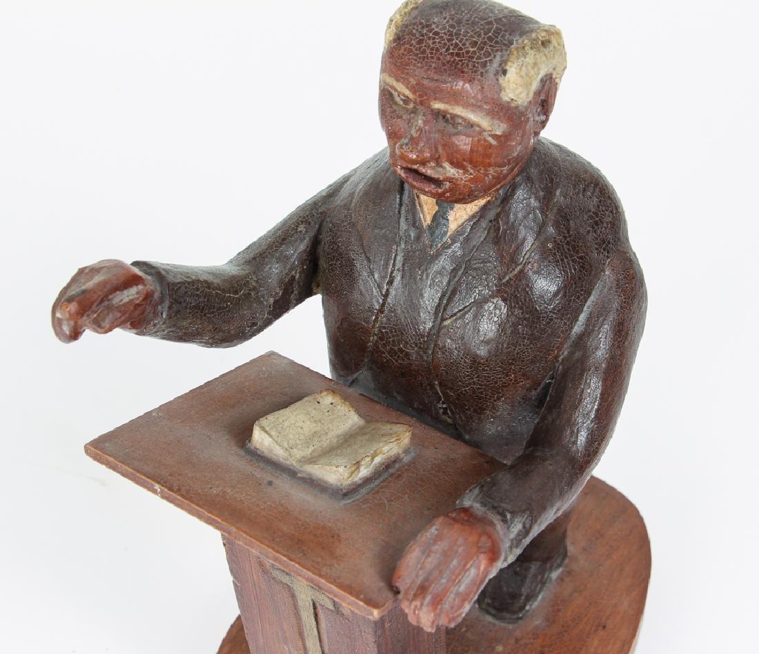 Folk Art Preacher Carved Wood Sculpture - 3
