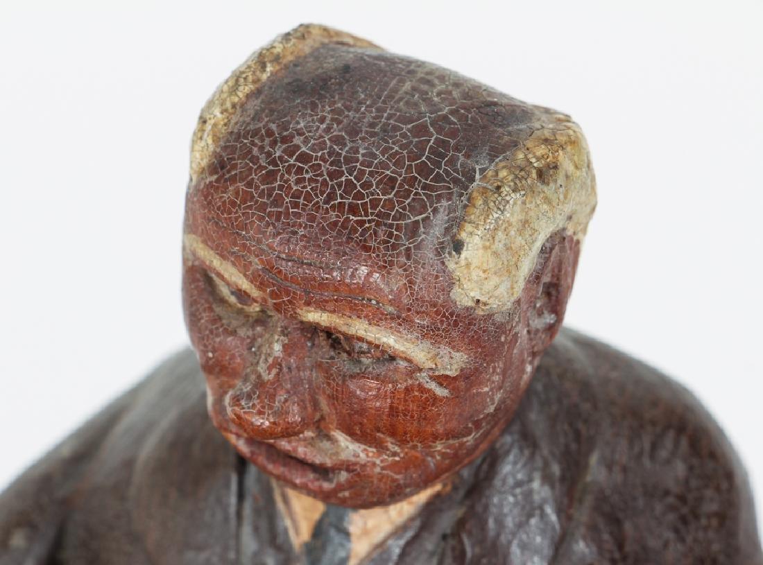 Folk Art Preacher Carved Wood Sculpture - 4