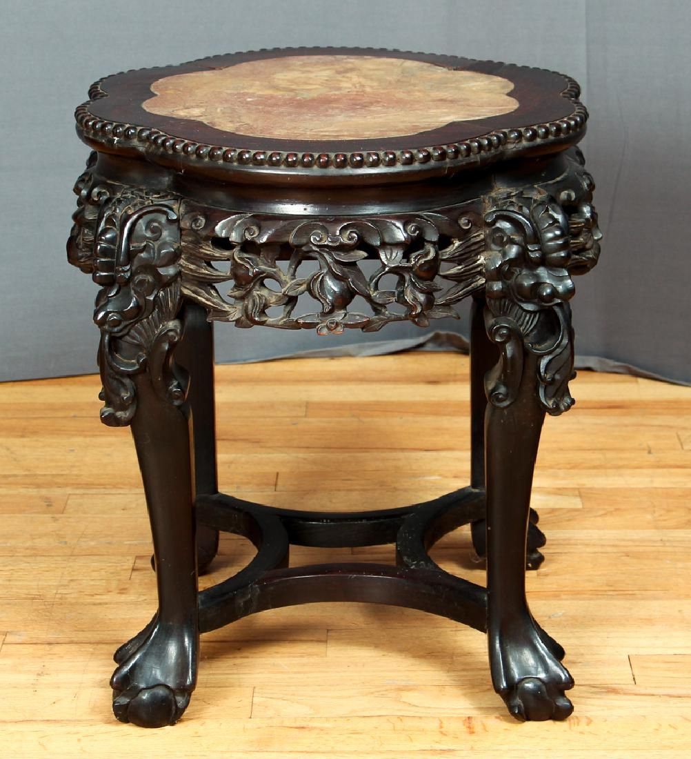 Chinese Carved Wood Marble Topped Plant Stand