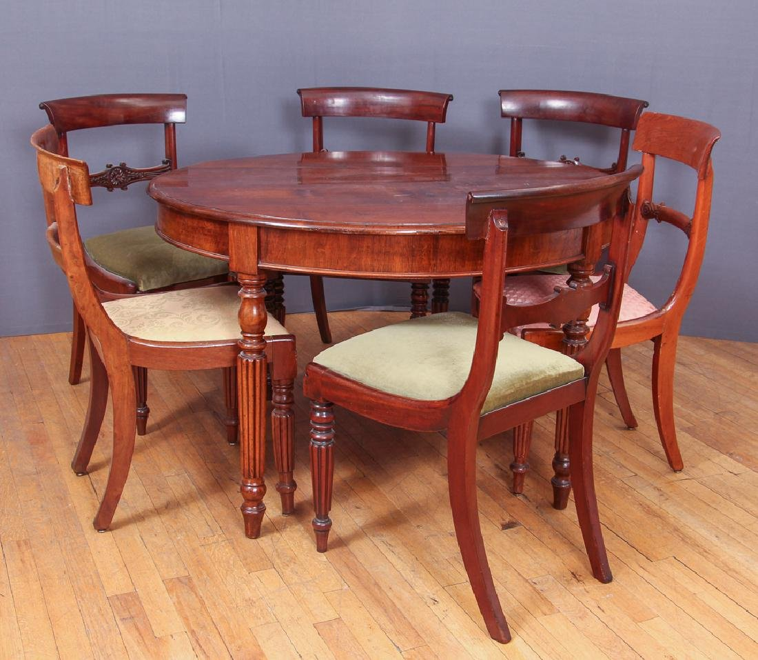 Antique William IV Dining Table and Six Chairs