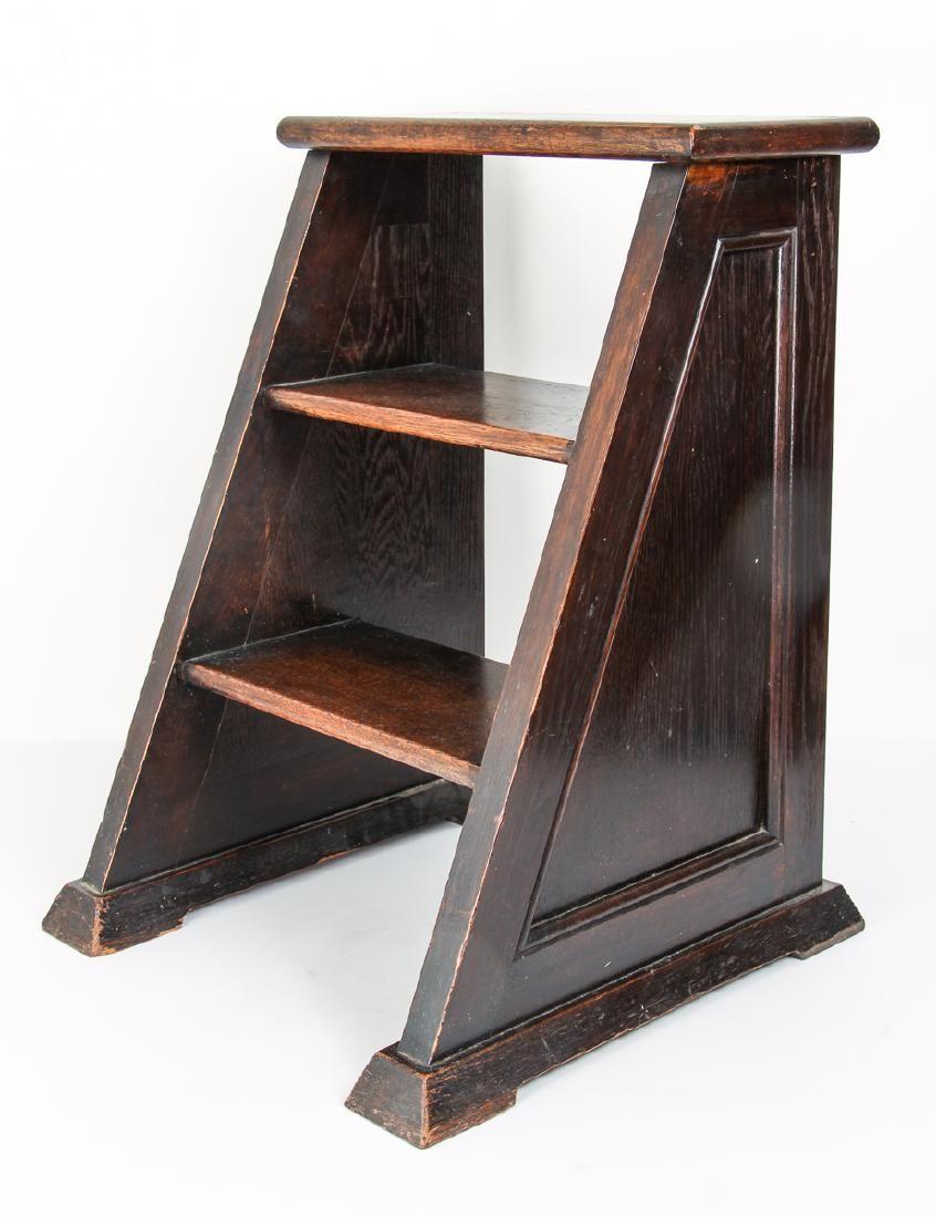 Oak Three Step Library Ladder