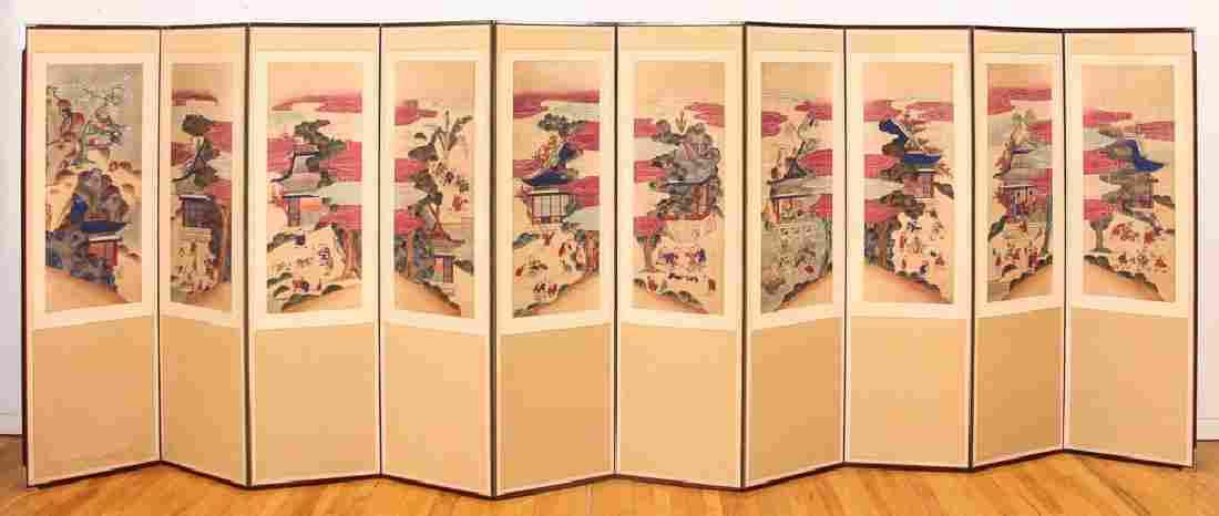 Ten Panel Japanese Folding Screen