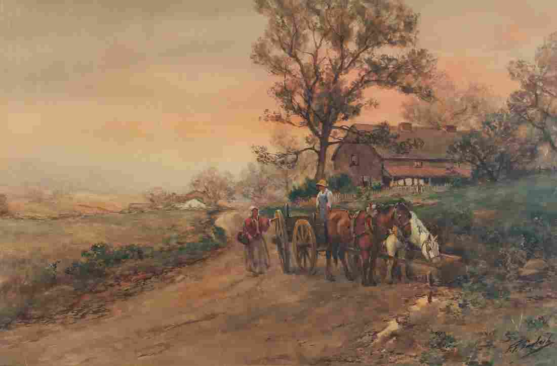 Frank F. English watercolor  Along The Country Road