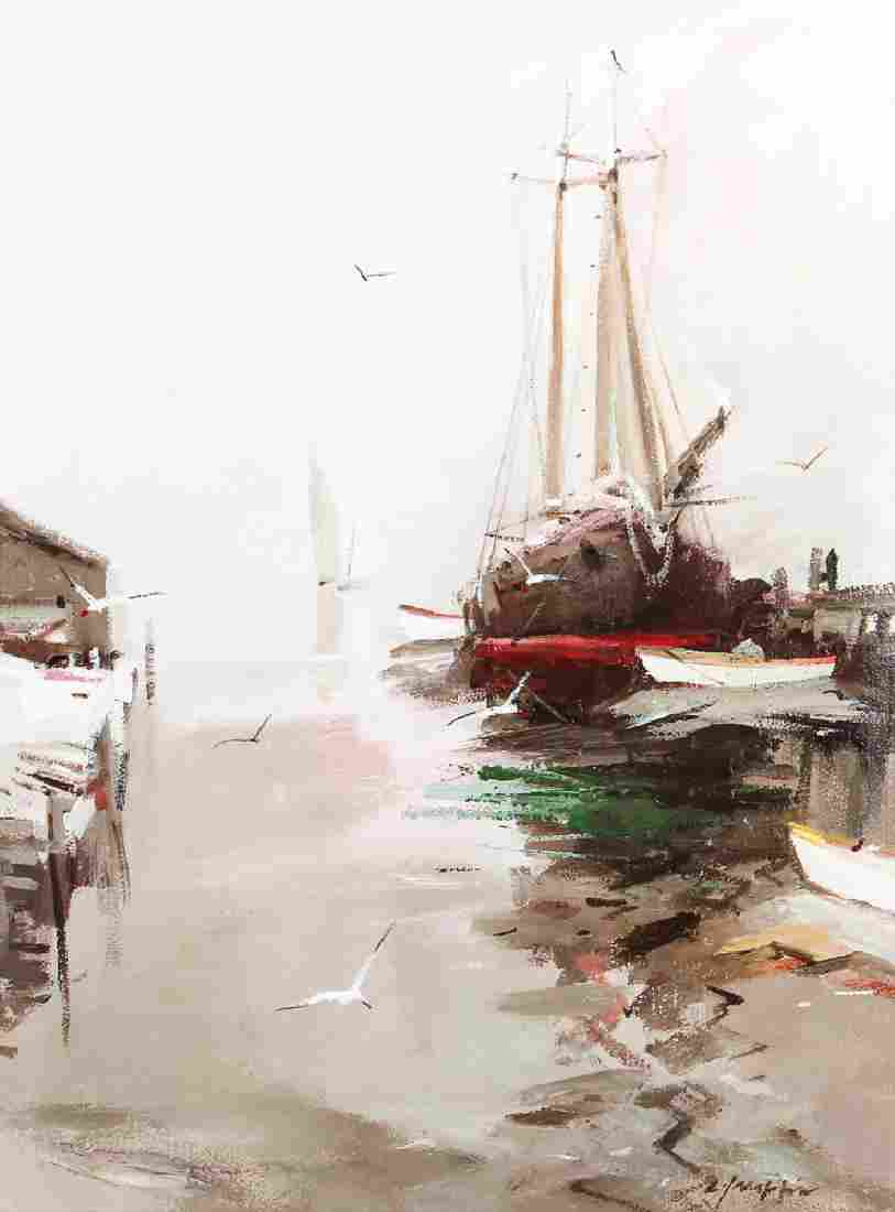 Charles Gruppe Dock View Painting