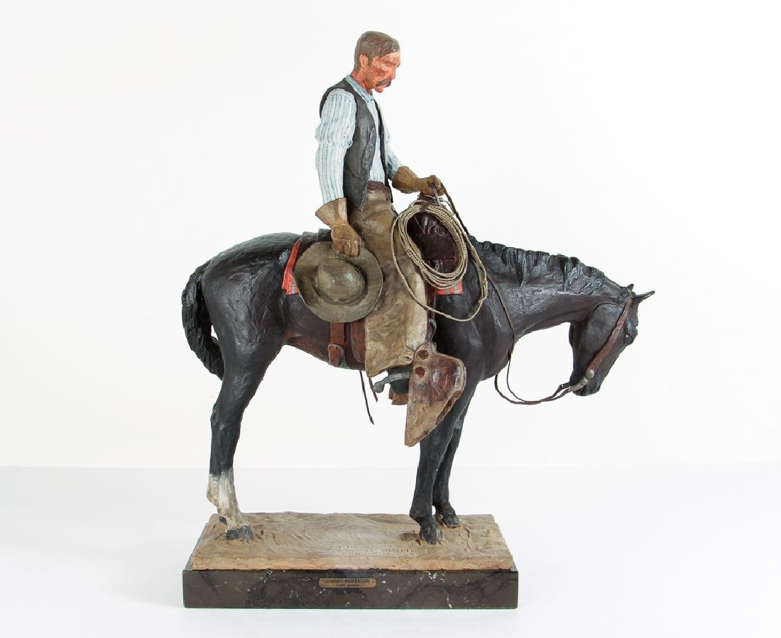 Harry Jackson 1964 painted bronze Cowboy Meditation