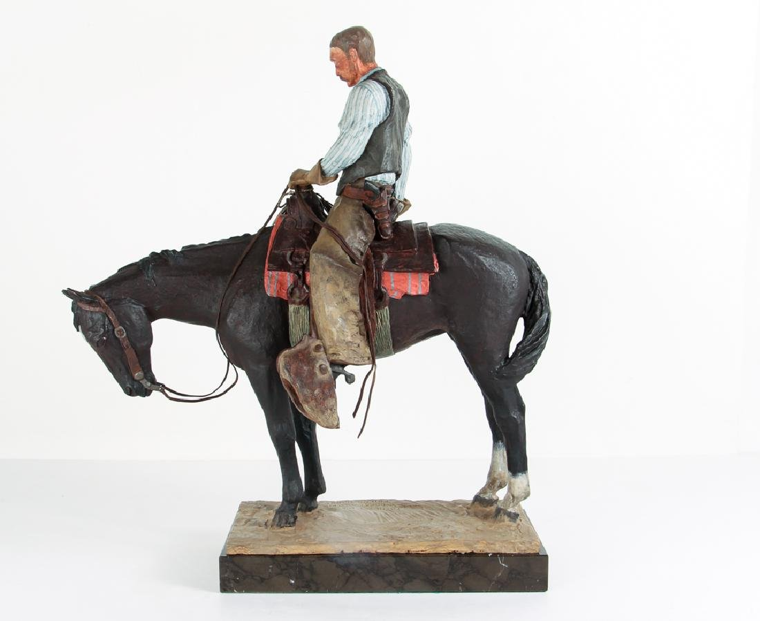 Harry Jackson 1964 painted bronze Cowboy Meditation - 3