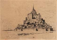 Tavik Frantisek Simon etching Mont Saint Michel