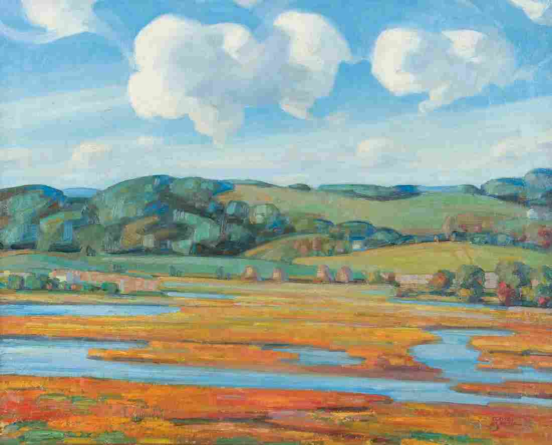 Clayton B. Smith modernist oil South Country Salt Marsh