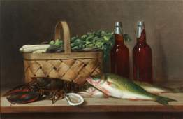 A. F. King Lobster, Fish, and Beer Bottle Still Life