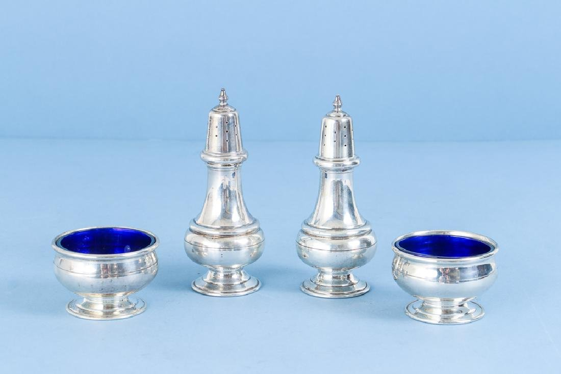 Sterling Silver and Cobalt Salt and Pepper