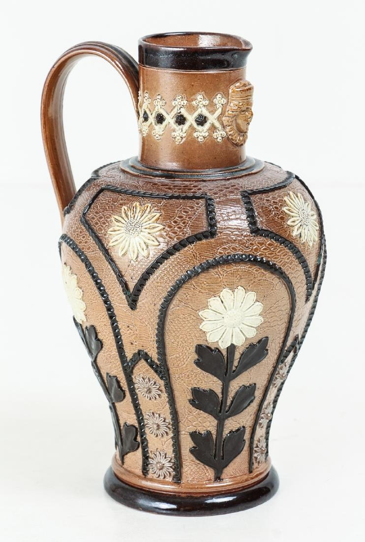 2 Doulton Lambeth Jugs with Sunflowers, 1880-1891