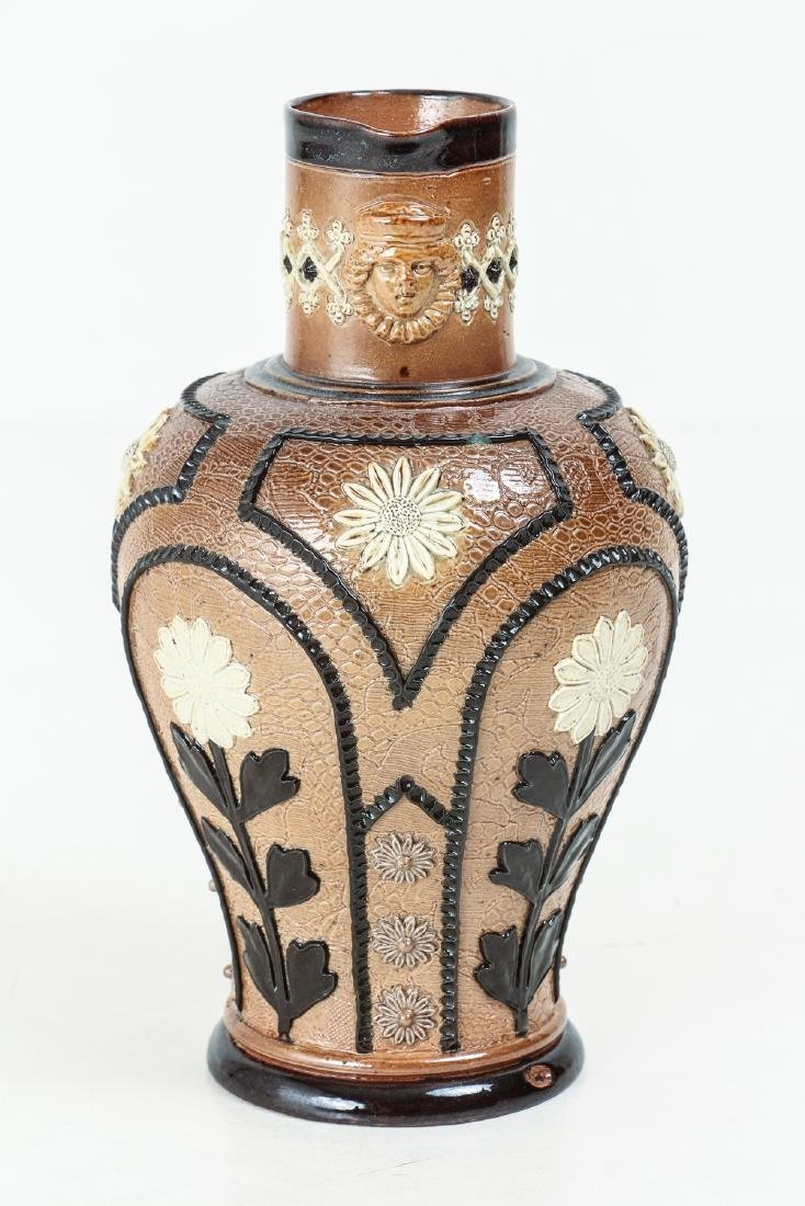 2 Doulton Lambeth Jugs with Sunflowers, 1880-1891 - 2