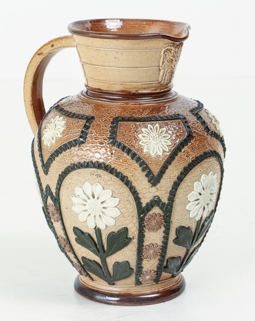 2 Doulton Lambeth Jugs with Sunflowers, 1880-1891 - 4