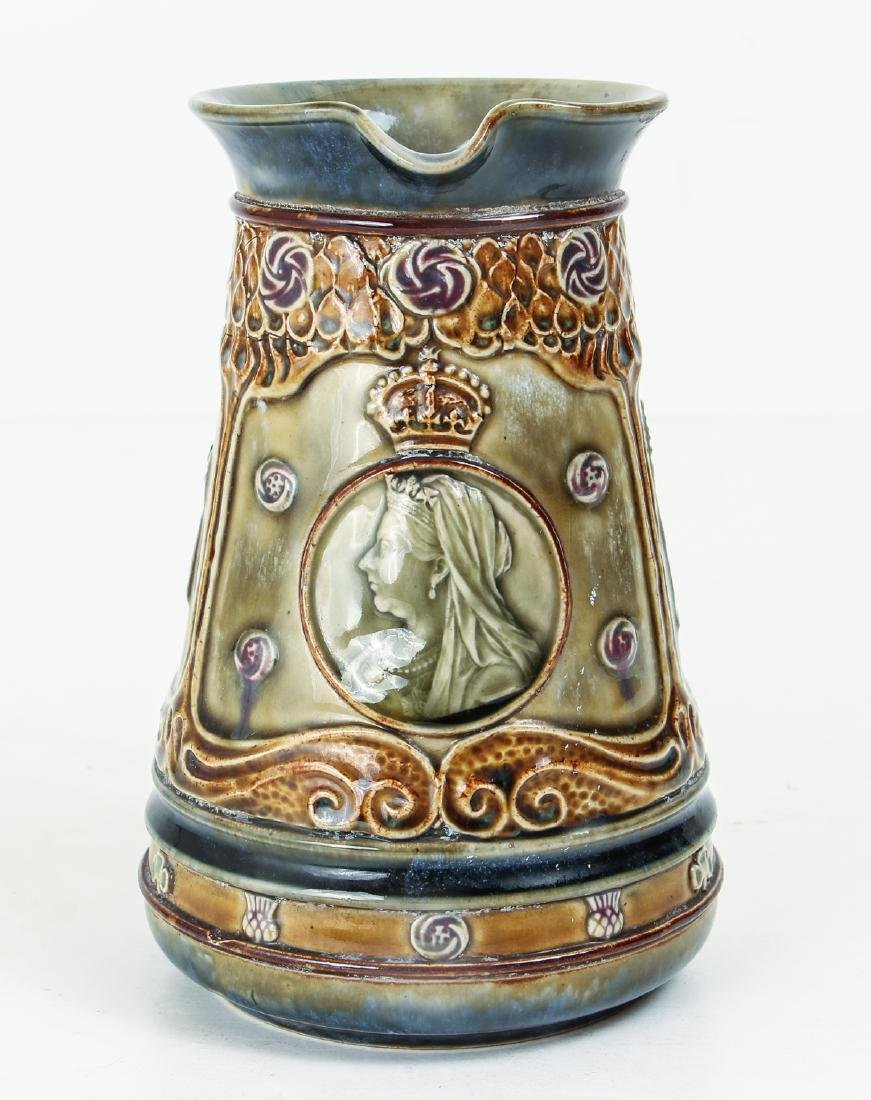 Doulton Lambeth Jug Commemorating the Life of Queen - 2