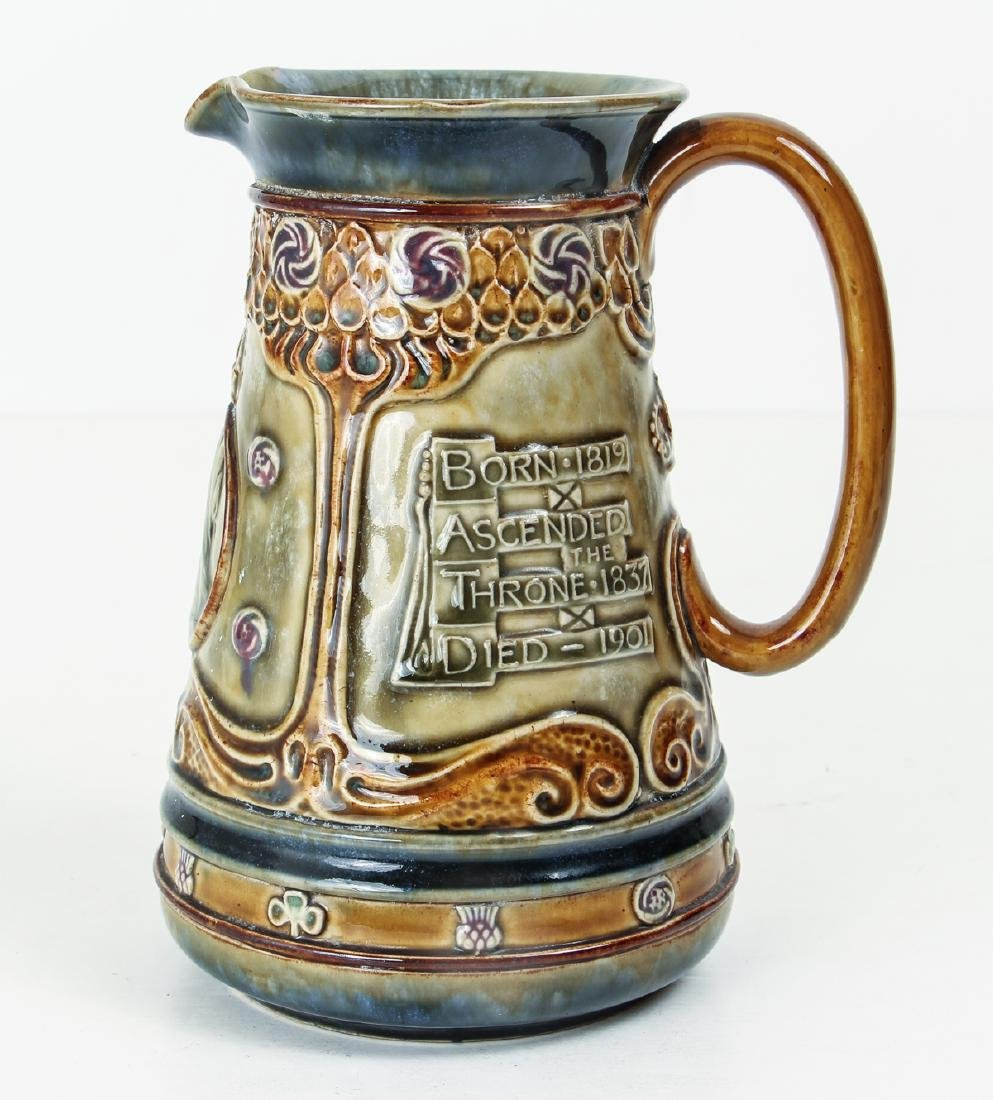Doulton Lambeth Jug Commemorating the Life of Queen - 3