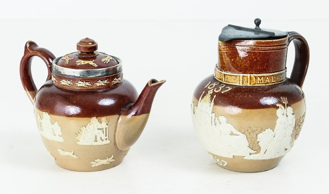 2 Doulton Lambeth lidded pieces, Teapot and Jug