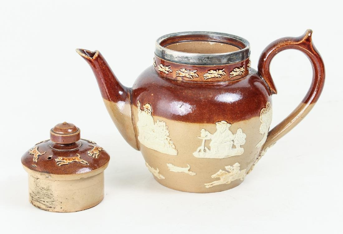 2 Doulton Lambeth lidded pieces, Teapot and Jug - 3