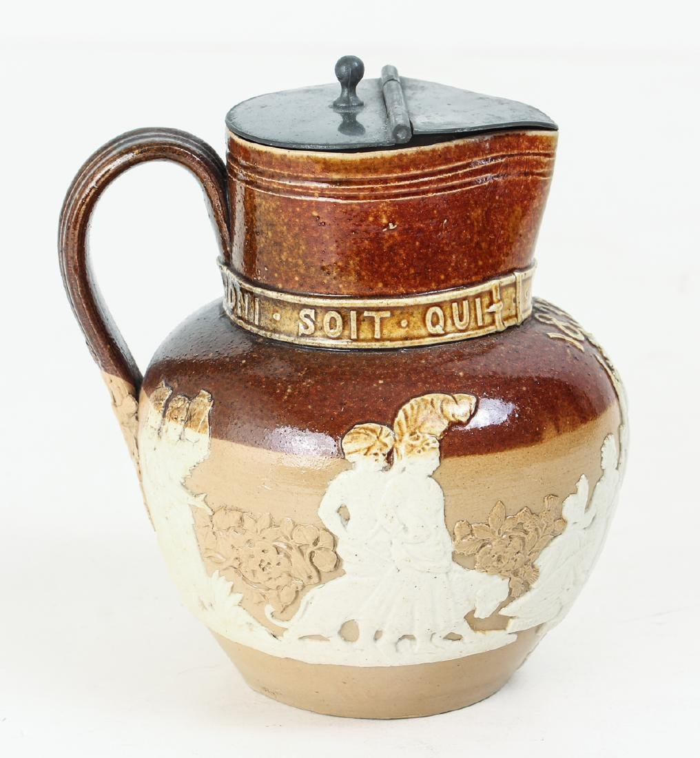 2 Doulton Lambeth lidded pieces, Teapot and Jug - 7