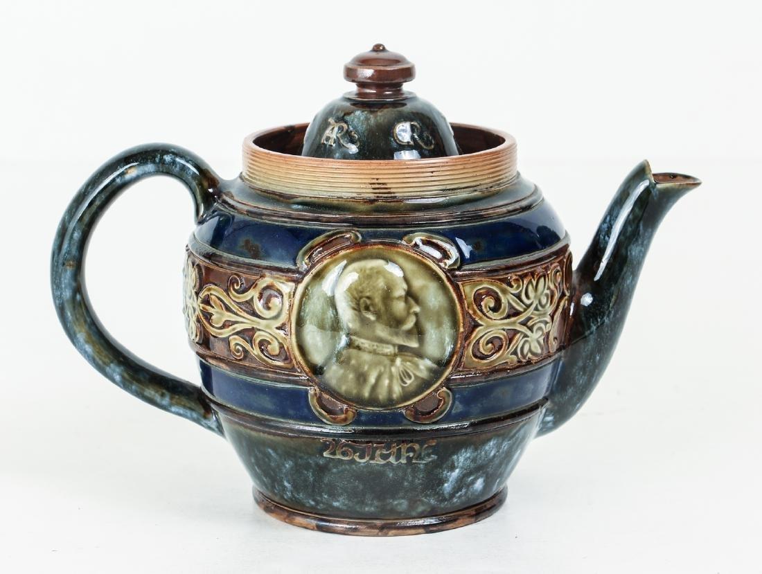 Doulton Lambeth Teapot commemorative  Edward &