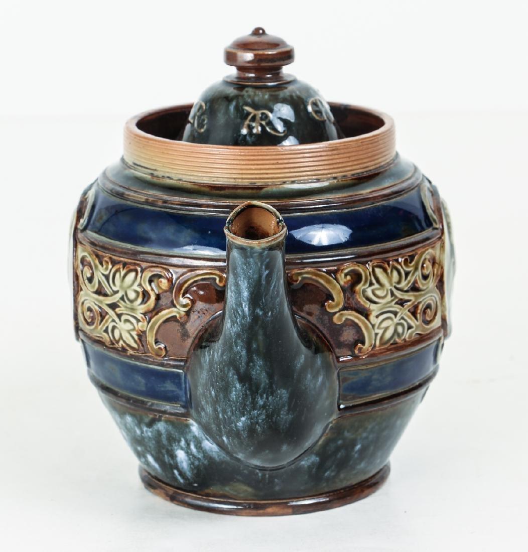 Doulton Lambeth Teapot commemorative  Edward & - 2