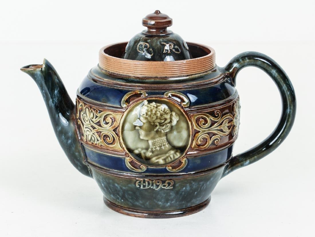 Doulton Lambeth Teapot commemorative  Edward & - 3