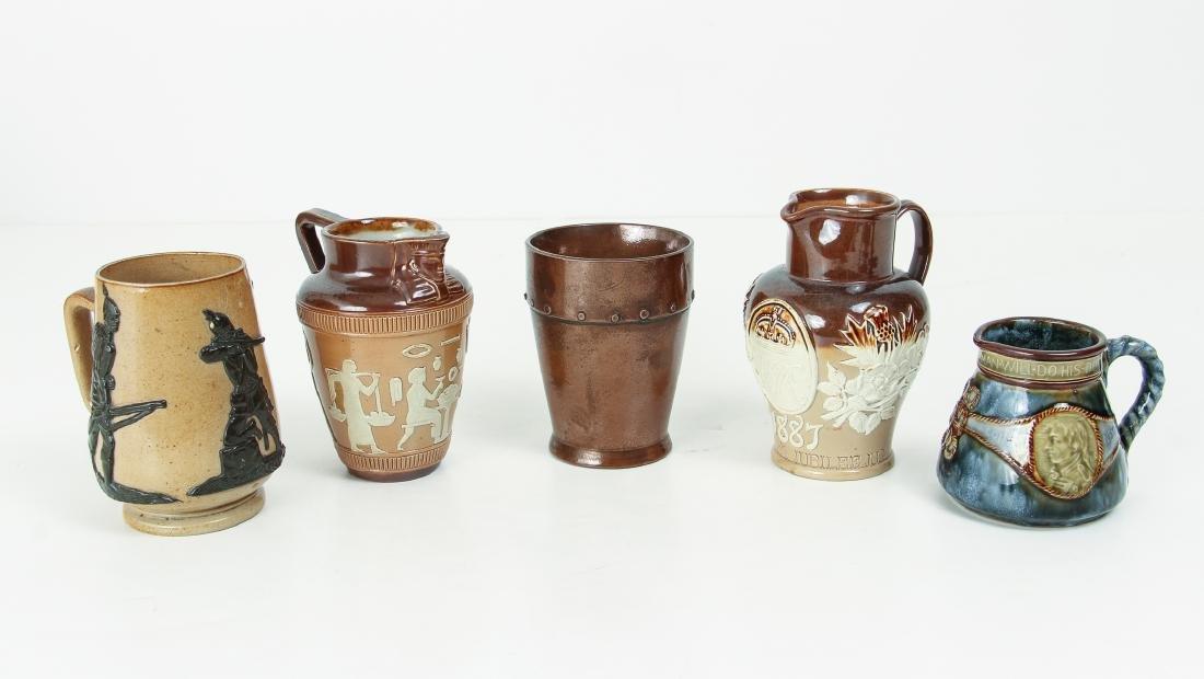 5 smaller Doulton Lambeth jugs, cups, beaker