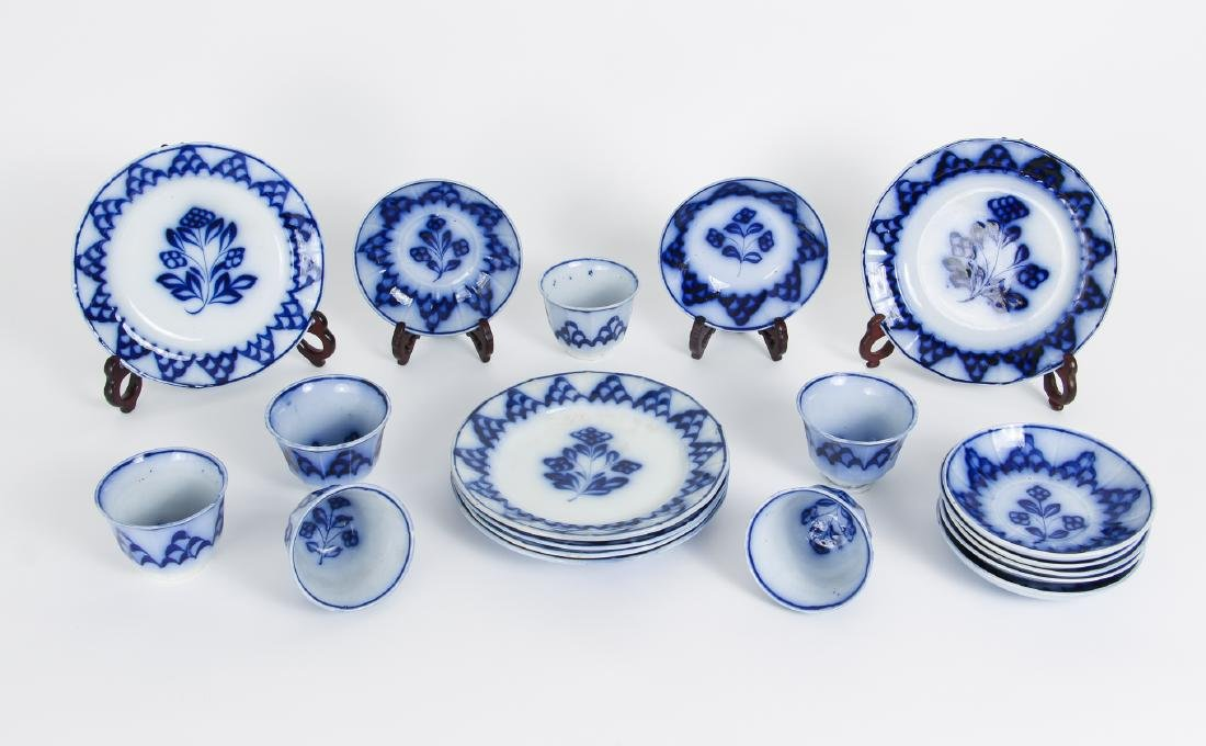 Nineteen Pieces of Flo Blue China