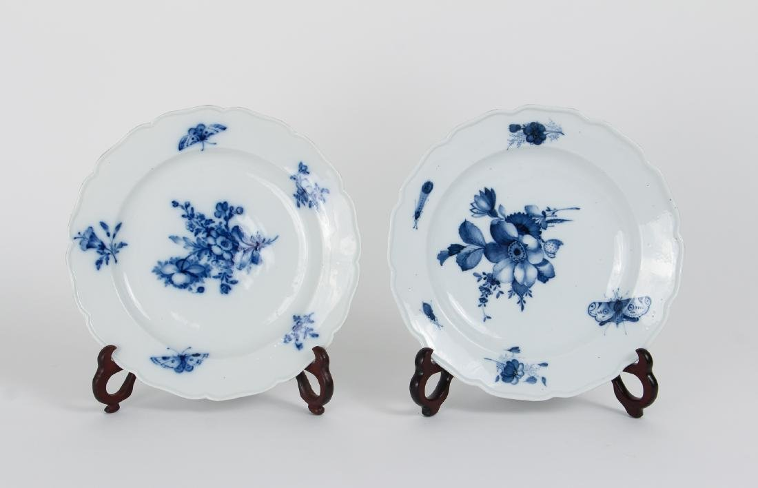 Two Meissen Blue Flower and Insect Bowls