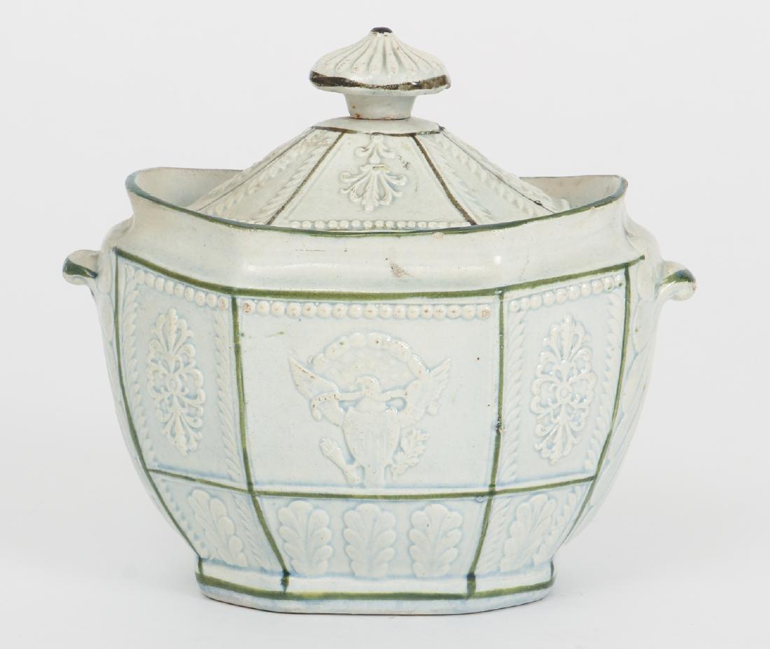 Creamware Covered Sugar with Federal Symbols
