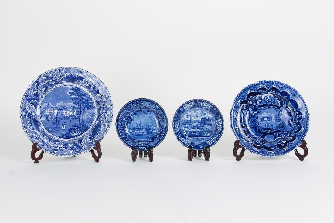 Four Pieces Antique Blue Transferware Pottery