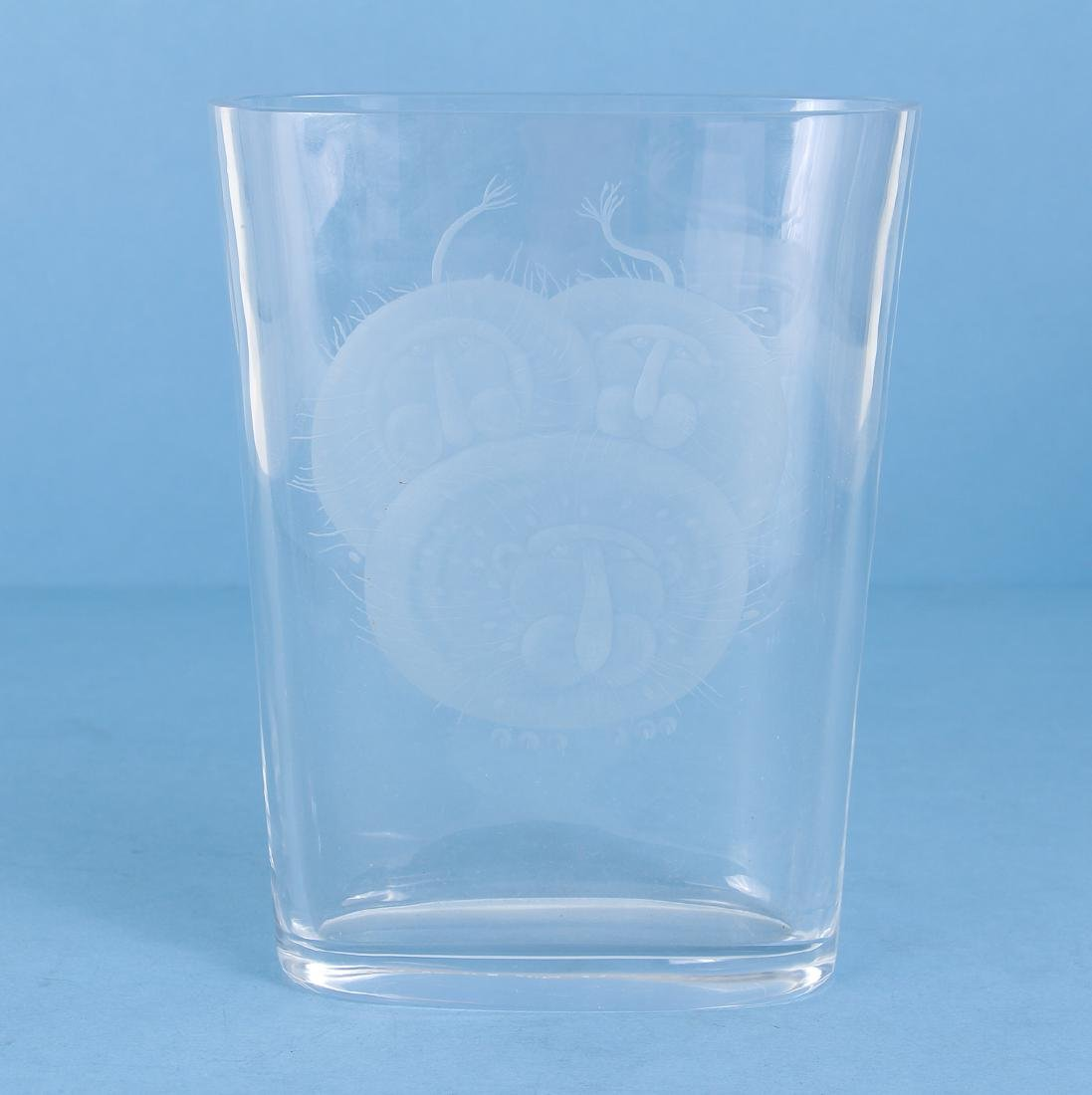 Orrefors Crystal Vase Etched with Lions