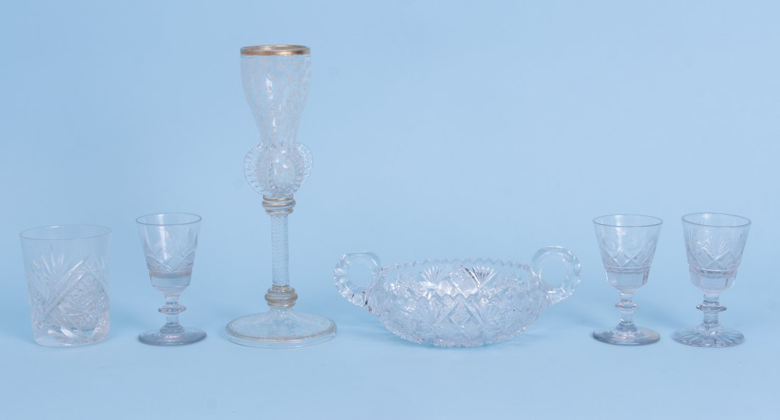 Six Pieces of Antique Glass Inc Strawberry Fan