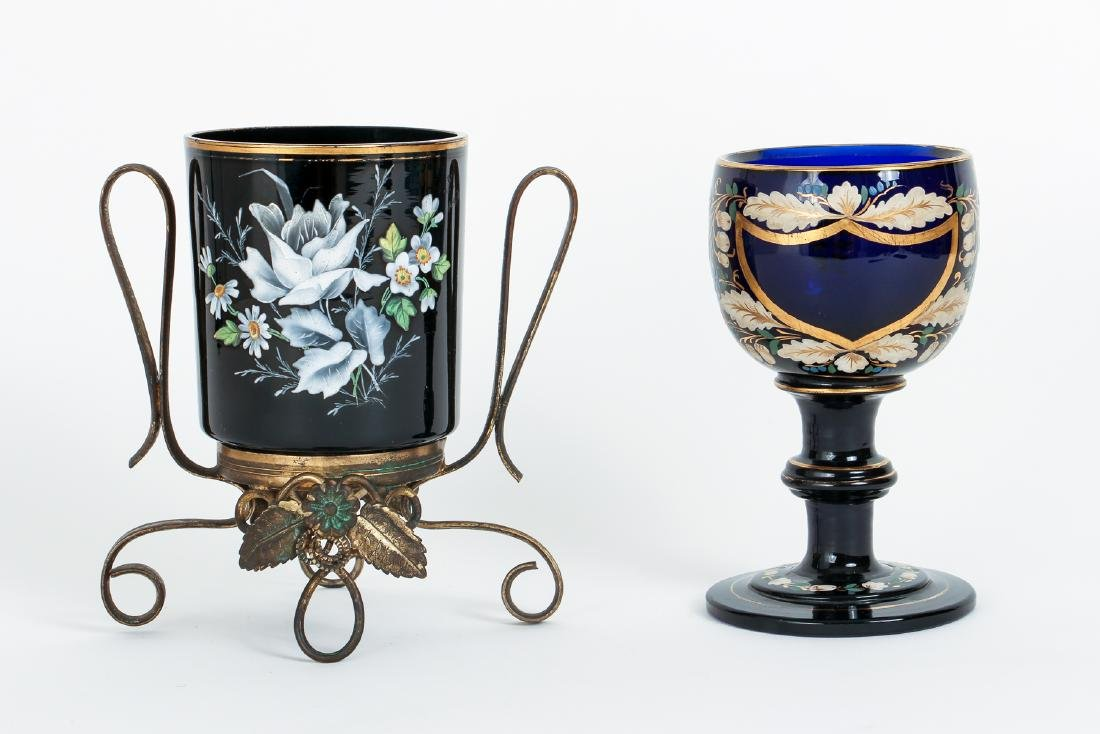Two Pieces Victorian Enamel Glass
