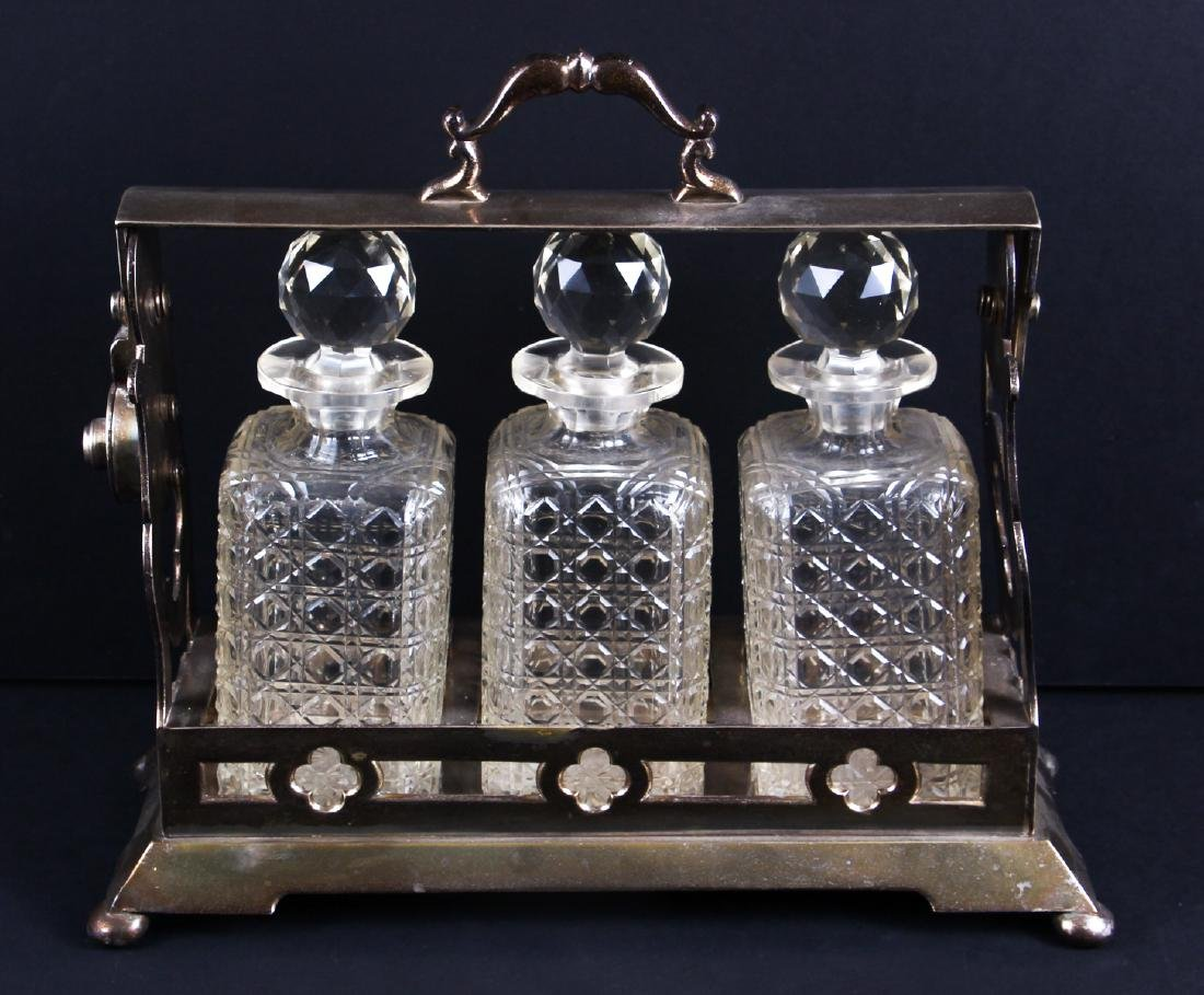 Three Bottle Cut Glass and Silverplate Tantalus