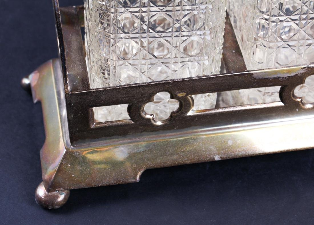 Three Bottle Cut Glass and Silverplate Tantalus - 5