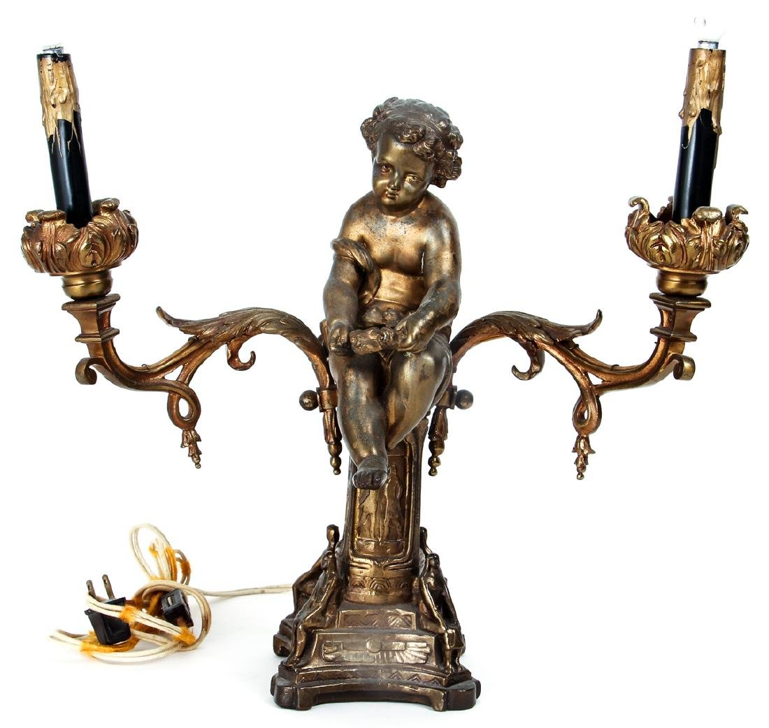 Gilt Mixed Metal French Style Putti Lamp