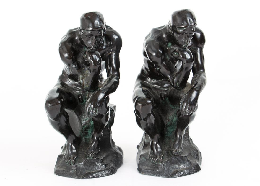 Pair of Bronze Finished Pot Metal Bookends - 3