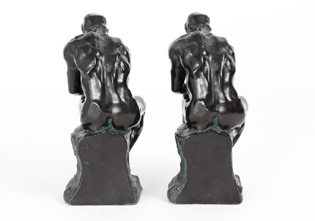 Pair of Bronze Finished Pot Metal Bookends - 5