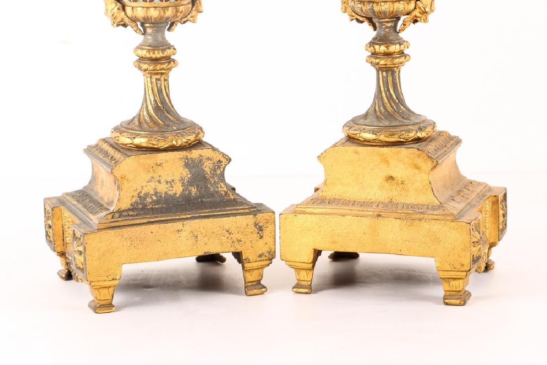 Gilt and Enamel Three Piece Clock and Garniture - 10