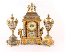 Gilt and Enamel Three Piece Clock and Garniture