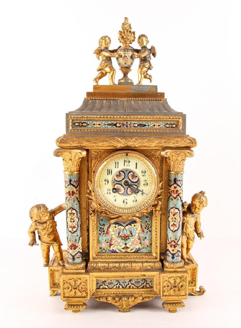 Gilt and Enamel Three Piece Clock and Garniture - 2