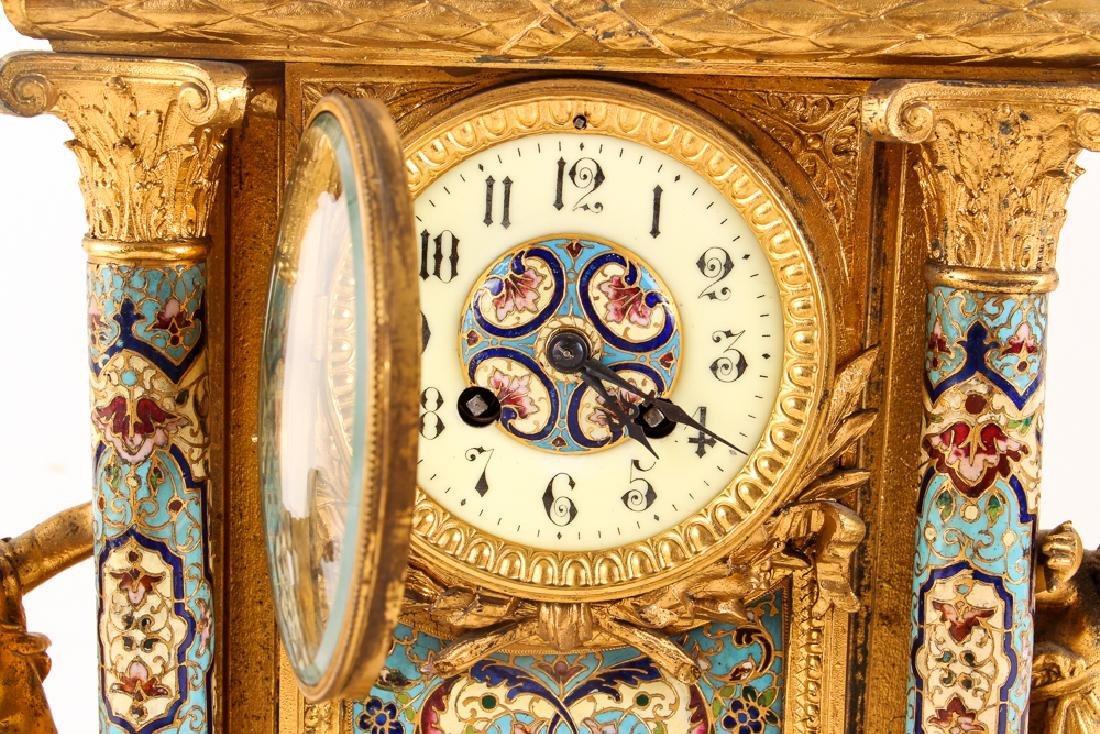 Gilt and Enamel Three Piece Clock and Garniture - 4