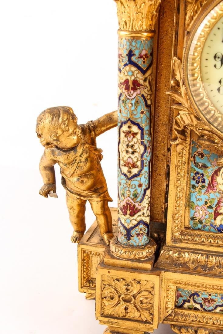 Gilt and Enamel Three Piece Clock and Garniture - 5