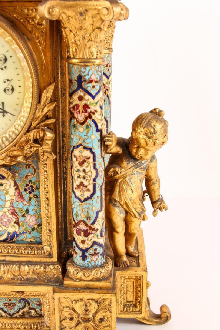 Gilt and Enamel Three Piece Clock and Garniture - 6