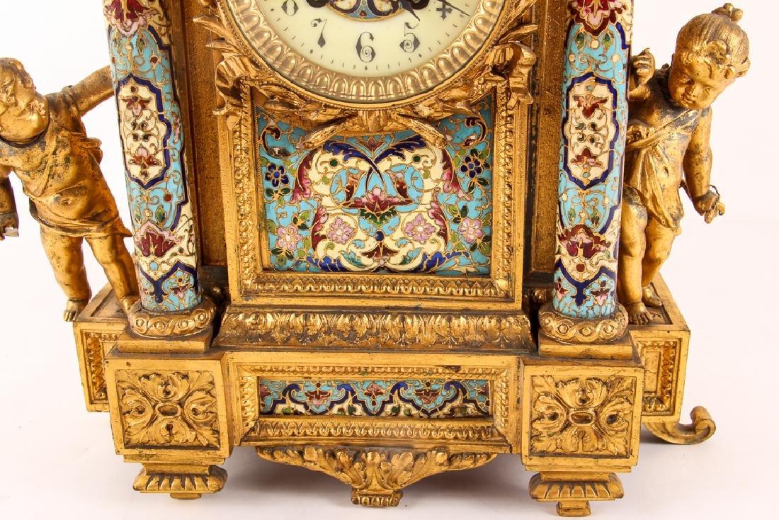 Gilt and Enamel Three Piece Clock and Garniture - 7