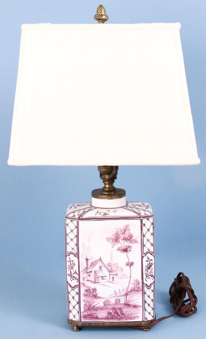 Quimper Style Ceramic Lamp - 3