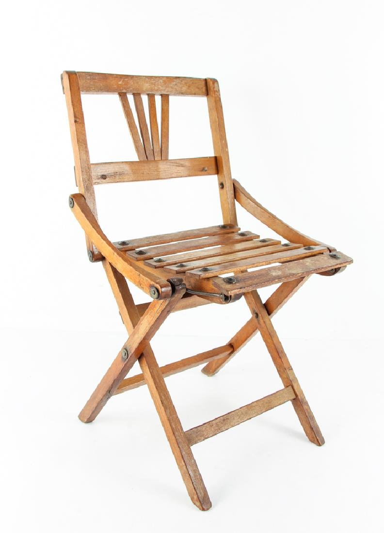 Child's Oak Folding Camping Chair Early 20th Century